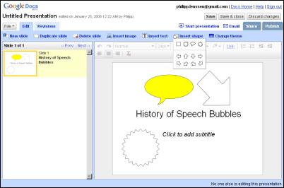 ischool google presentations adds shapes